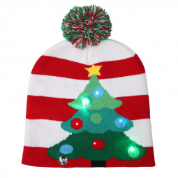 LED Light Knitted Christmas Warm Hat New Year Party Decoration Tree Snowflake Hat - Christmas Tree