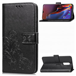 Four-leaf Clover Pattern Magnetic PU Wallet Case Flip Phone Cover for Oneplus 6T - Black
