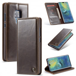 Business Soft PU Magnetic Closure Flip Phone Case Cover for Huawei Mate 20 - Brown