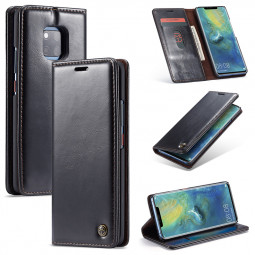 Business Retro Magnetic Card Slot Wallet Flip PU Phone Case Cover for Huawei Mate 20 Pro - Black