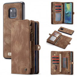 Multifunction Magnetic PU Wallet Purse Flip Case Phone Cover with Card Slot for Huawei Mate 20 Pro - Brown