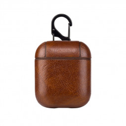 Genuine Leather Earphone Case Wireless Bluetooth Headphone Pouch Protective Cover Box for AirPods - Dark Brown