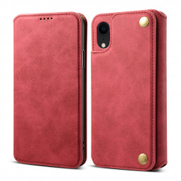 Ultra-thin PU Leather Luxury Wallet Vintage Cover Phone Case for iPhone XR - Red