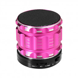 S28 Alloy Portable Wireless Bluetooth Stereo Speaker Support FM Radio Microphone AUX - Pink