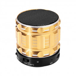 S28 Alloy Portable Wireless Bluetooth Stereo Speaker Support FM Radio Microphone AUX - Gold