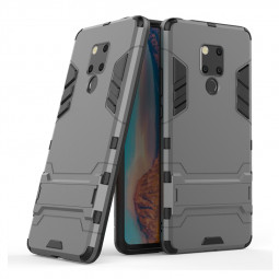 Hybrid TPU PC Iron Man Rugged Armor Phone Case Holder Stand Cover for Huawei Mate 20X - Grey