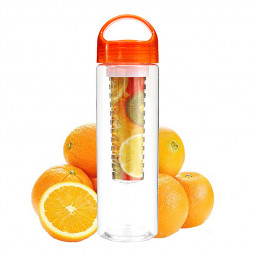 800ML Sport Fruit Infusion Infusing Infuser Water Bottle Health Maker Flip Lid - Orange