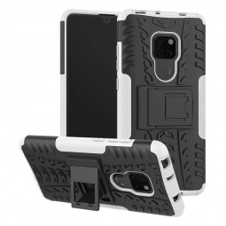 Heavy Duty Rugged Hybrid Armor Phone Cover Case for Huawei Mate 20 - White