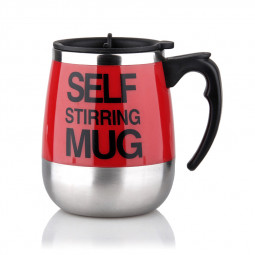 450ML Coffee Cup Mug Thermal Auto Stirring Self Work Office Desk Car Stir Tea Cup Gift - Red