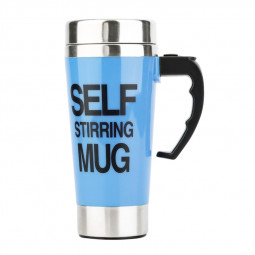 Lazy Auto Stir Mixing Tea Coffee Milk Soup Cup Self Stirring Tall Mug Smart Mixer Cup Travel Mug 450ml - Blue