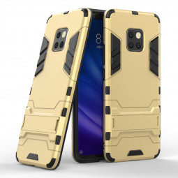 Hybrid TPU PC Iron Man Rugged Armor Matte Case Cover with Kickstand for Huawei Mate 20 Pro - Gold