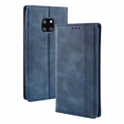 Vintage Business Magnetic Wallet Flip Stand Phone Cover with Card Slot for Huawei Mate 20 Pro - Blue