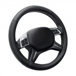 Universal Dia.38cm Car Steering Wheel Leather Cover Case - Black