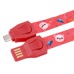 85cm Lanyard Ruler Braided Micro USB Charging Charger Cable - Red