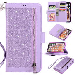 Glitter Wallet Flip Leather Stand Case with Card Slot Zipper Phone Cover for iPhone XS MAX - Purple