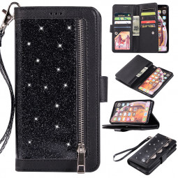 Glitter Shiny Zipper Leather Phone Case Protective Cover with Lanyard for iPhone XR - Black