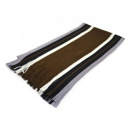 Mens Vintage Soft Scarfs Winter Warm Striped Polyester Scarf Tassels Knitted Cotton Scarf - Coffee