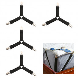 4pcs Triangle Bed Sheet Mattress Holder Fastener Grippers Clips Suspender Straps Bands - Black