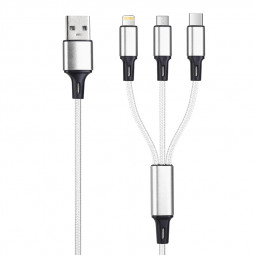 3 in 1 Multifunctional Portable Type-C Micro USB Lightning 8 Pin Charging Cable 1.2m - Silver