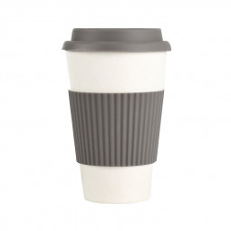 400ML Reusable Heat Resistance Bamboo Fiber Mug Coffee Cup for Home Office - Grey