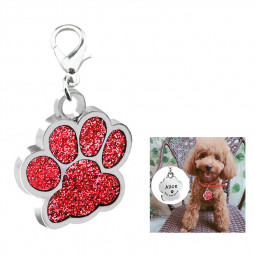 Zinc Alloy Glitter Footprints Paw Dog Cat Pet ID Tags Blank ID Card Collar Acceserie - Red