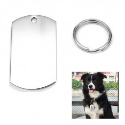 Stainless Steel Blank Tag Dog Cat Pet ID Tags with Key Ring Cylinder Shape - Size S