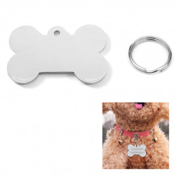 Stainless Steel Blank Tag Dog Cat Pet ID Tags with Key Ring Bone Shape - Size L