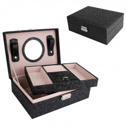 Portable Leaves Pattern PU Leather Case 2 Layers Jewelry Organizer Storage Boxes with Lock - Black