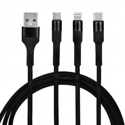 Universal 3 in 1 Portable Type-c Micro USB Android and 8 Pin Lightning Charging Cable 1.2m - Black