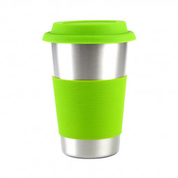 500ML 304 Stainless Steel Mugs Drinking Coffee Beer Cups with Silicone Lids and Sleeve for Cold or Hot Drinks - Green