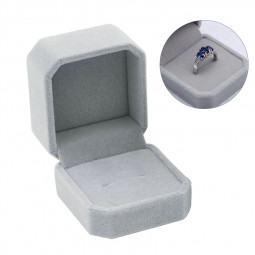 5*4.5cm Squre Wedding Velvet Earrings Ring Box Jewelry Display Case Gift Boxes - Grey
