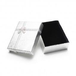 7*9cm Sparkling Pearl Paper Ribbon Jewelry Ring Earrings Necklace Gift Box Packaging Box - Silver