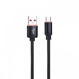 1M Leather Micro USB Sync Data Charging Cable for Samsung Huawei - Black