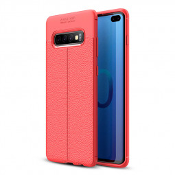 1.5 mm Thickness Simple Litchi Texture Pattern Soft Silicone TPU Phone Case Back Cover for Samsung Galaxy S10 Plus - Red
