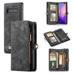 Wallet Purse Flip Multifunction Phone Case Cover with Magnetic for Samsung Galaxy S10 Plus - Black