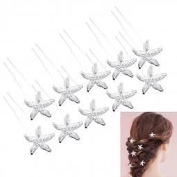 20pcs Pearl Rhinestone Alloy Flower Daisy Bride Hair Pins Wedding Hair Clips Pins Headdress - Starfish
