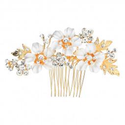 Wedding Rhinestone Flower Hair Clip Comb Bridal Headdress Alloy Crystal Accessories HS-J2720 - Gold