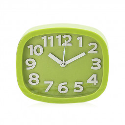 Cartoon Cute Alarm Clock Simple Design Candy Colour Desktop Bedside Alarm Clock Rectangle - Green