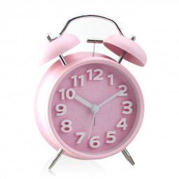 "4"" Mini Vintage Classic Bedside Table Loud Twin Bell Alarm Clock with Luminous Light - Pink"