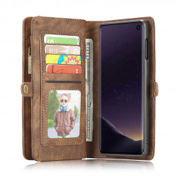 Multifunction Magnetic Leather Wallet Purse Flip Book Phone Case Back Cover for Samsung Galaxy S10e - Brown