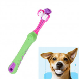 Pet Dog Non-slip Handle Three-head Toothbrush Multi-angle Cleaning Toothbrush - Green