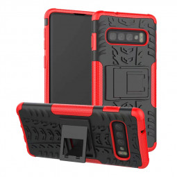 Heavy Duty Armor Slim Phone Case with Kickstand Function for Samsung Galaxy S10 - Red