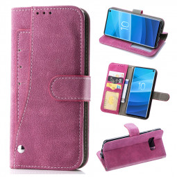 Wallet Book Case Flip Phone Cover with Kickstand Function for Samsung Galaxy S10 - Hot Pink