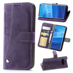 Matte Leather Soft TPU Wallet Book Case Phone Protective Cover for Samsung Galaxy S10e - Purple