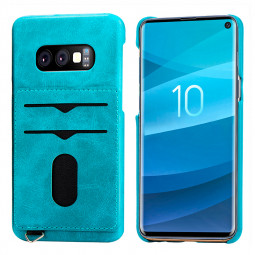 PU Leather Phone Case with Card Slot Shockproof Back Cover Solid Colour for Samsung Galaxy S10e - Blue