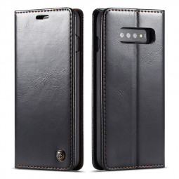 Magnetic Card Slot Wallet Flip Leather Phone Case Back Cover for Samsung Galaxy S10 - Black
