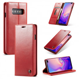 Business Magnetic Card Slot Wallet Flip Leather Phone Case Back Cover for Samsung Galaxy S10 Plus - Red