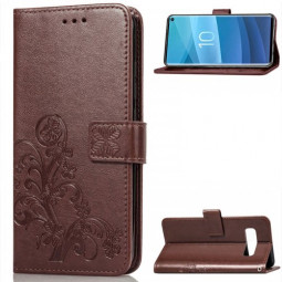 Wallet Flip Phone Case Flower Pattern Leather Stand Holder Cover for Samsung Galaxy S10e - Brown