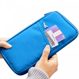 Full Closure Zipped Travel Bag Wallet Passport Ticket Holder - Blue