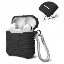 Soft Silicone Shockproof Protective Case Cover Box Pouch for Apple AirPods - Black